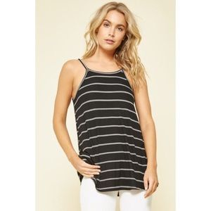 Cara Striped Tank - Black/White